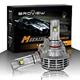BROVIEW M5 Canbus LED Headlights Anti Flicker Conversion Kit Bulbs -6000LM 9005 HB3 H10 3000K 4500K 6500K 8000K 10000K Cree Chip- PnP -LED Headlamp Replaces Halogen & HID (2pcs/set)