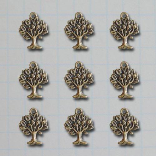 Maya Road Vintage Metal Charms, 0.9 by 0.7-Inch, Mini Tree, 9-Pack (Bordered Tree)