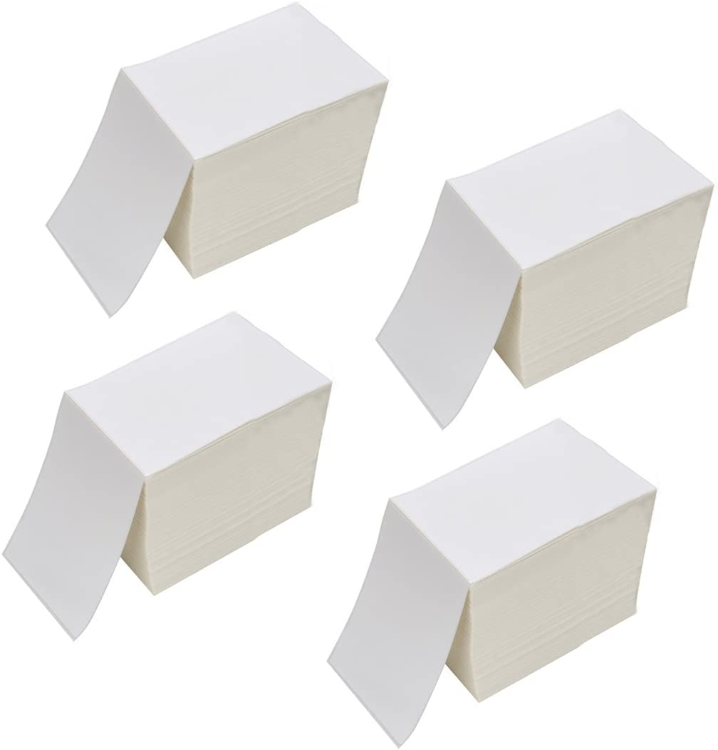 """RyhamPaper 4"""" x 6"""" Fanfold Direct Thermal Labels - White Shipping Mailing Postage Labels, Perforated, Permanent Adhesive(4 Stacks - 4000 Labels)"""