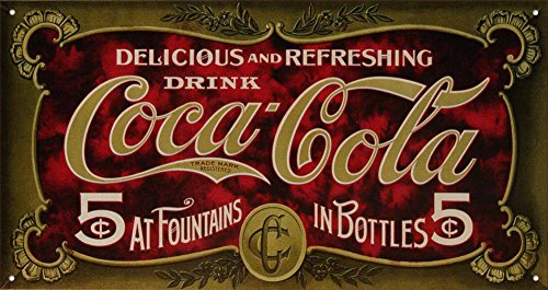 Desperate Enterprises Coca-Cola - 1900's 5 Cent Tin Sign, 16