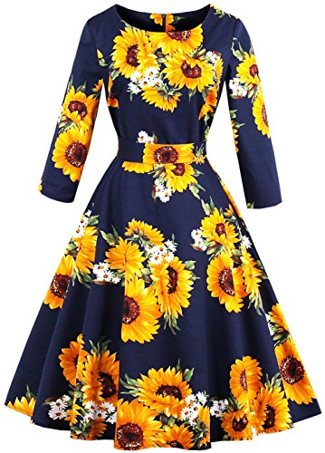 Joansam Plus Size Women 1960's Audrey Hepburn Vintage Dress Long Sleeves Belts Sunflower Print Swing Femme Retro Dresses - La Dresses Femme Formal