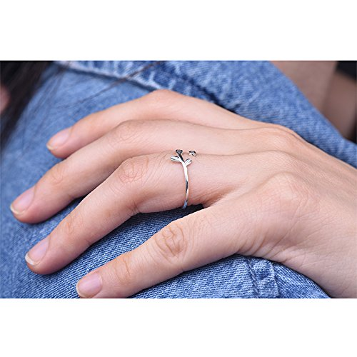 Long Way Ring, 925 Sterling Silver Adjustable Leaf Open ring Fine Jewelry for Women, Best Gift for Mother Wife Girlfriend at Christmas Birthday by Long Way (Image #3)