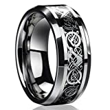 ERAWAN New Silver Celtic Dragon Titanium Stainless Steel Men's Wedding Band Rings EW sakcharn (Size 10)