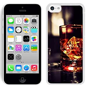 NEW Unique Custom Designed iPhone 5C Phone Case With Whiskey Glass Rocks_White Phone Case
