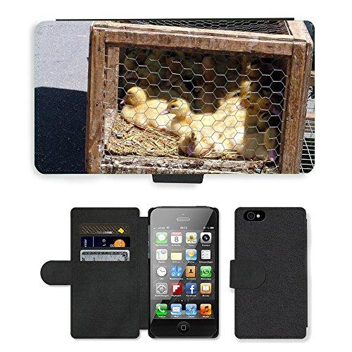 Just Phone Cases PU Leather Flip Custodia Protettiva Case Cover per // M00128798 Marché poussins canetons Oiseau // Apple iPhone 4 4S 4G