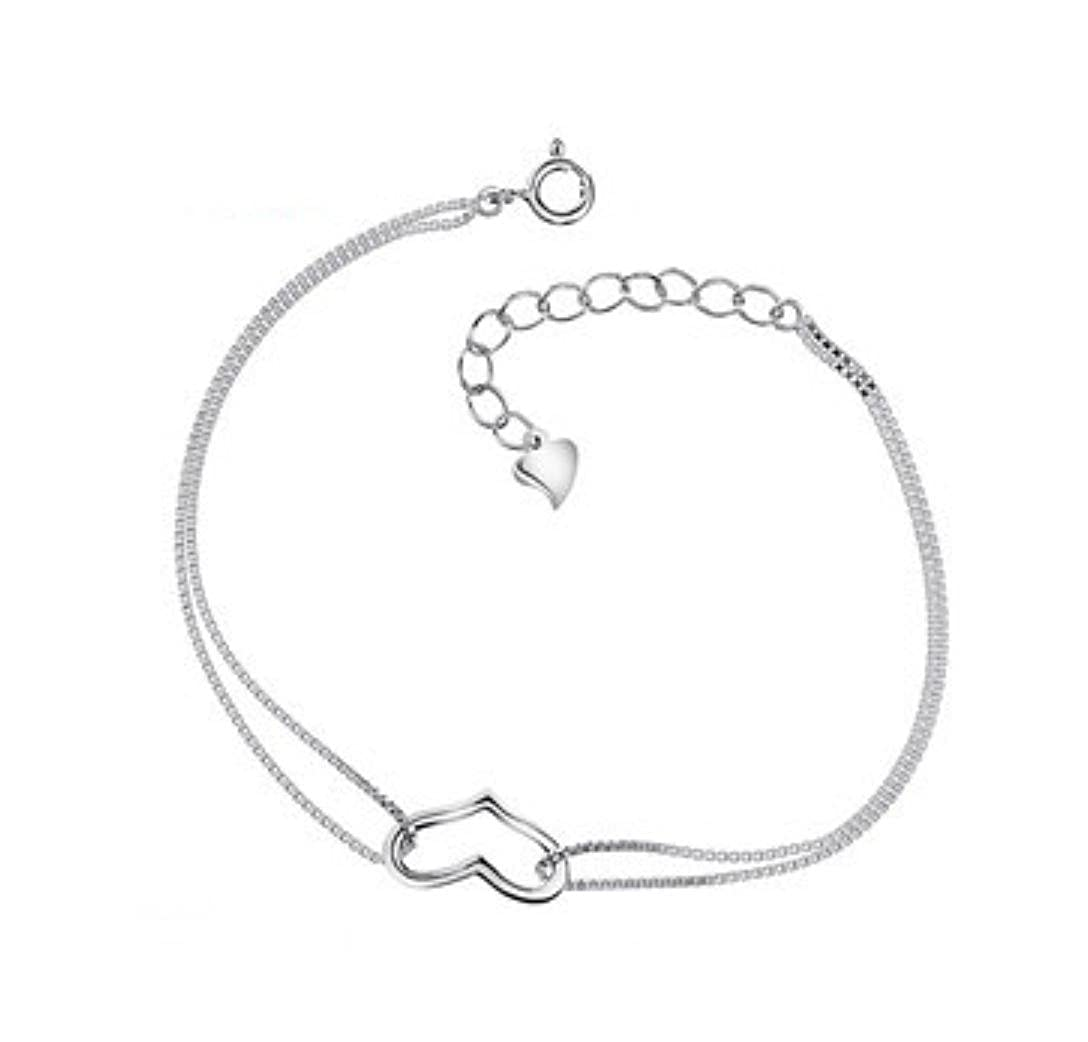 fdb4518be6 DUlijun 925 sterling silver bracelet silver couples jewelry Korean anklet  accessories: Amazon.co.uk: Jewellery