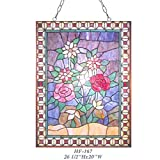 HDO Glass Panels HF-167 Pastoral Vintage Tiffany Style Stained Glass Decorative Sweet Flower Window Hanging Glass Panel Suncatcher, 26.5''x20''
