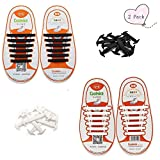 YINTAO No Tie Shoelaces for Kids Textured Stretchy Silicone Shoelace Set Waterproof Silicon Flat Elastic Athletic Running Boots Board Casual Shoe Laces