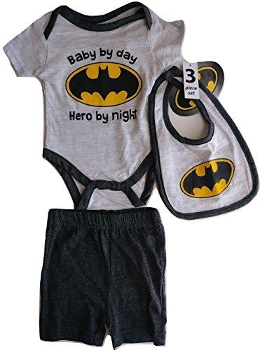 Batman Infant Bib - Baby by Day Hero by Night,Batman, Baby Boy 3-Piece Set (0-3 Months)