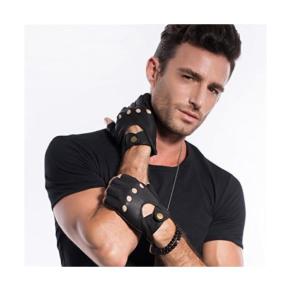 MATSU Half Finger Mens Leather Gloves Fingerless Unlined Black M1076S 5
