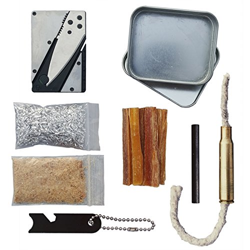 Firestarting Tinder Torch Survival Tin Fatwood Sticks Magnesium Ferro Rod Knife by Kaeser Wilderness Supply