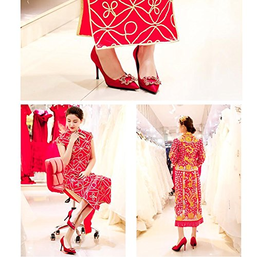 Chaussures Couleur 10cm De 8cm en UK4 Rouge Talons Mariée Taille Sexy Cristal MUMA EU36 Hauts Pointu CN36 Printemps 2018 Chaussures Escarpin De Mariage SwBxqCPg