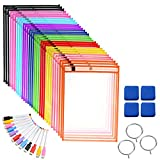 Pinshion 30 Pack Dry Erase Pocket Sleeves, Reusable
