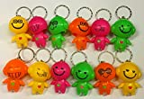 Wholesale lot of 50 Bright Emoji Emoticon Bobblehead Mini Flashlight Keychains by DISCOUNT PARTY AND NOVELTY TM