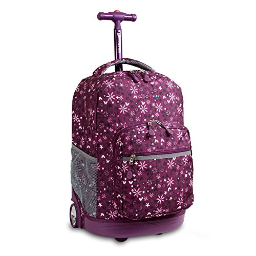 Girls Purple Garden Floral Themed Rolling Backpack, Beaut...