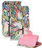 iPhone SE Case,iPhone 5S Case,iPhone 5 Case,Alkax Premium PU Leather Wallet [Kickstand][Magnet]Folio Flip Cover with Credit Card ID Card Slots for Apple iPhone SE 5G With 1 Stylus Pen(Colorful tree)