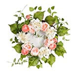 Pack of 2 Springtime Delight Decorative Artificial Floral with Greenery Wreath 24''