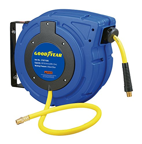 Goodyear 27527153G Enclosed Retractable Air Compressor/Water Hose Reel with 3/8 in. x 50 ft. Hybrid Polymer Hose, Max. 300PSI by Goodyear (Image #2)