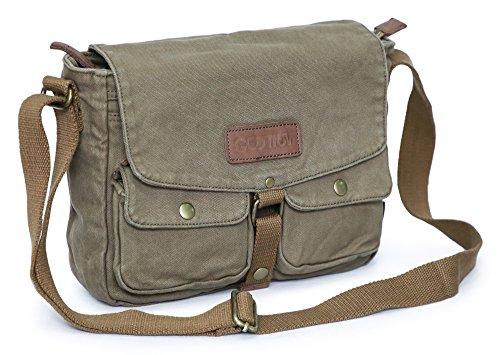 Gootium Canvas Messenger Bag – Vintage Crossbody Shoulder Bag Military Satchel, Army Green