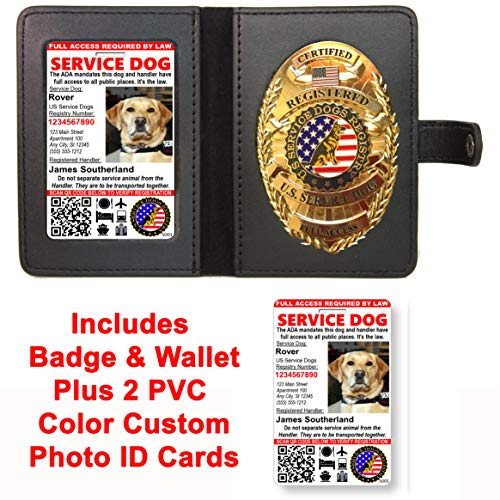 (Service Dog Badge & Leather Wallet with 2 Custom Photo ID's & Registration on US Service Dog Registry)
