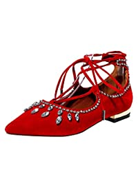 AIWEIYi Womens Rhinestone Pointed toe Lace up Ballet Flats Casual Dress Shoes