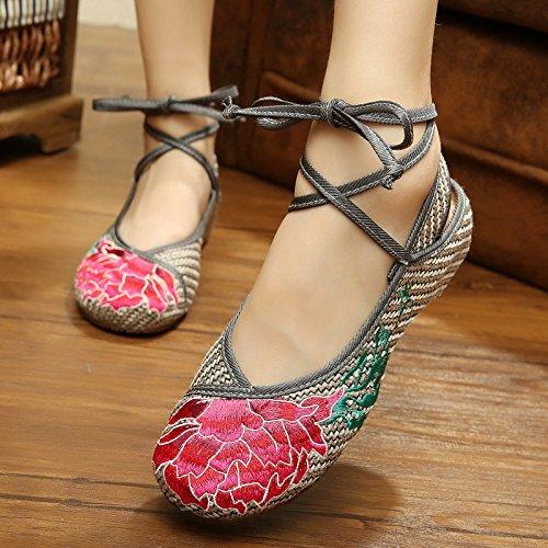 WHH Loto rojo Zapatos bordados, lenguado de tendón, estilo étnico, hembrashoes, moda, cómodo ash, color