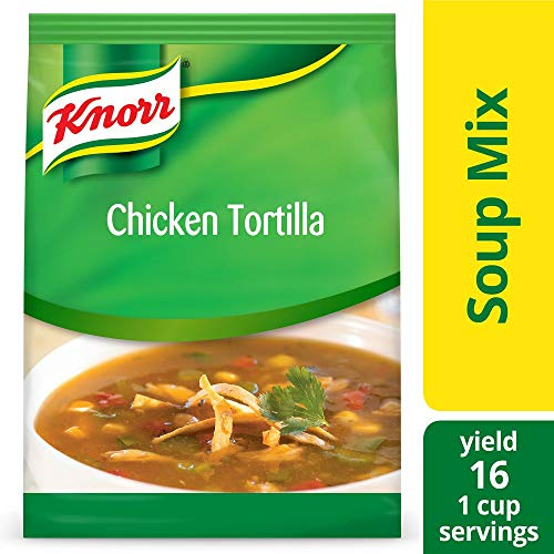 Mexican Tortilla Soup - Knorr Professional Soup du Jour Chicken Tortilla Soup Mix No added MSG, 0g Trans Fat per Serving, Just Add Water, 14.4 oz, Pack of 4