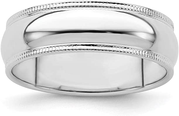 Wedding Bands Classic Bands Milgrain Bands Sterling Silver 5mm Half Round Milgrain Band Size 10.5