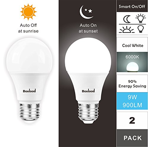 Boxlood Dusk to Dawn A19 LED Light Bulb, Built in Light Sensor, Plug and Play, 90% Energy Saving, 6000K Cool White, 90W Halogen Equivalent, E26, AC120V, Auto On/Off Lighting Bulb (2 Pack)