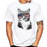 Realdo Men's Solid Casual T-Shirt, Fashion Short Sleeve Crewneck Cat Print Top Tee