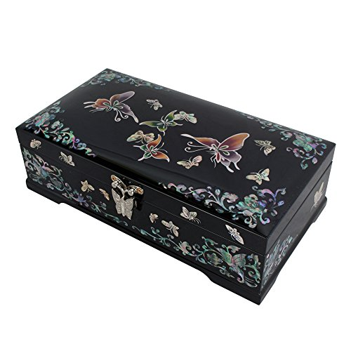 Mother of Pearl Inlay Butterfly Flower Lacquer Wood Jewelry Trinket Keepsake Treasure Box Case - Flower Lacquer