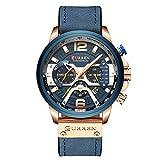 MeterMall - Reloj de pulsera para hombre, cuarzo, cronógrafo, fecha, visualización de 24 horas, correa de piel auténtica, Azul, Medium