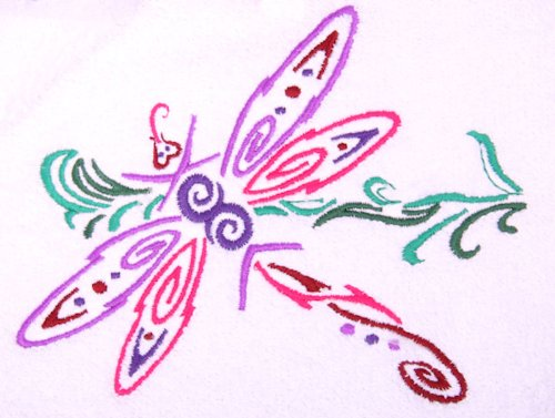 Embroidered Tribal Dragonfly Towels