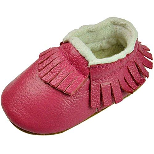Fire Frog Baby Fringe Sneakers - Zapatos primeros pasos de piel auténtica para niño Hot Pink