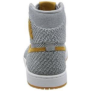 Jordan Nike Mens Air 1 High Flyknit Basketball Shoes Wolf Grey/Golden Harvest/Gum Yellow 919704-025 Size 9