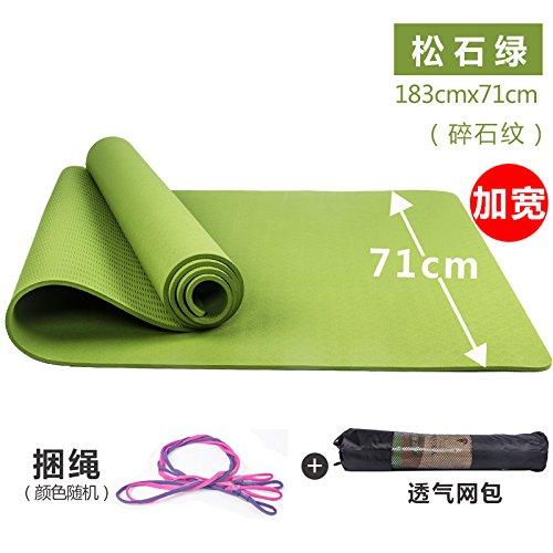 YOOMAT TPE Yoga Mat Spesso Ampio Tratto Mat Fitness Yoga Mat Starter Antiscivolo inodore Yu Coffee Pads, 8mm (avviamento), verde [Colore] Allentati Stones, verde176002