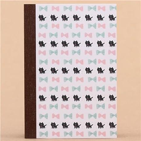 Linda libreta mini blanca tapa dura cartulina gato pajarita: Amazon.es: Juguetes y juegos