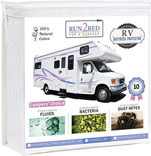 RUN2BED Luxury RV Short Queen Waterproof Mattress Protector - 100% Natural Turkish Cotton Soft Cover (60 x 75)
