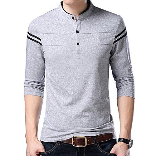 Mens Casual Polo Shirt Striped Long Sleeve Slim fit Cotton Polo T-Shirt