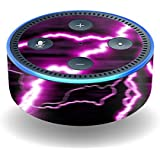 MightySkins Skin For Amazon Echo Dot (2nd Gen) - Purple Lightning | Protective, Durable, and Unique Vinyl Decal wrap cover | Easy To Apply, Remove, and Change Styles | Made in the USA