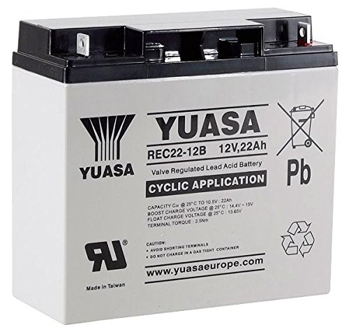 Yuasa Battery, Deep Cycle, Vrla 12V 22AH by Cable Guy Direct