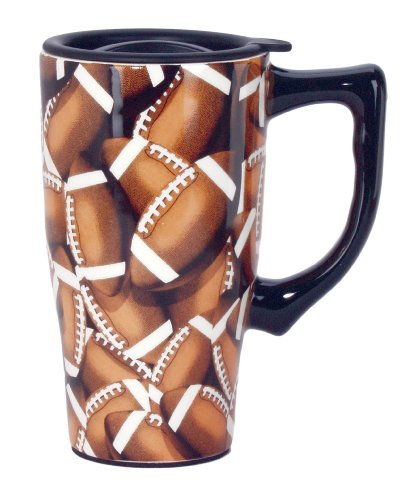 Spoontiques Football Travel Mug, Brown