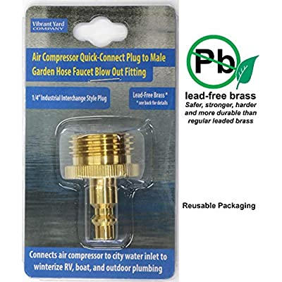 Winterize RV, Boat, Motorhome, Camper, and Travel Trailer: Air Compressor Quick-connect Plug To Male Garden Faucet Blow Out Adapter Fitting (Solid Lead-Free Brass): Automotive