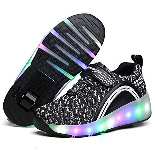 YANJK Illuminated Sneakers Fashion LED Lights Sports Roller Shoes Shiny Unisex USB(Black,2)