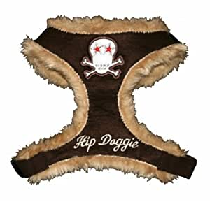 Fur Skull Dog Harness Vest Size: Extra Small, Color: Brown