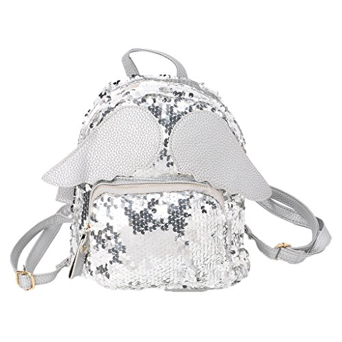 Amazon.com: Junlinto Women Girls Glitter Sequins Backpack Schoolbag Shoulder Bag with Angel Wings-Silver: Home & Kitchen