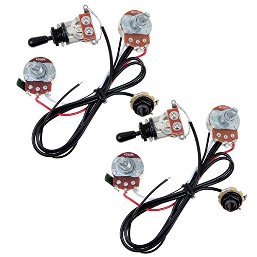 - Kmise Two Pickup Guitar Wiring Harness 500K 3 Way Toggle Swtich Black-Great with Humbuckers Pack of 2