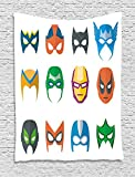 Superhero Tapestry, Hero Mask Female Male Costume Power Justice People Fashion Icons Kids Display, Wall Hanging for Bedroom Living Room Dorm, 60 W X 80 L Inches, Multicolor
