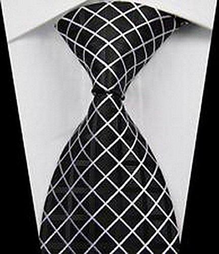 Calvinci - Classic Checks Black White JACQUARD WOVEN Silk Men's Tie Necktie TGIN - Macy's Versace