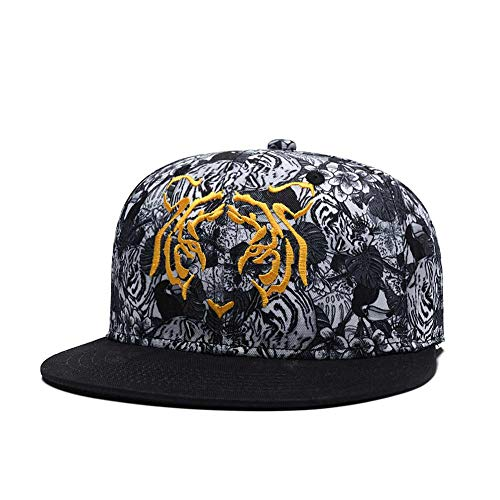 Tiger Embroidered Floral Snapback Hat 3D Rose Floral Print Visor Caps Twill Flat Bill Adjustable Baseball Cap (White Black)